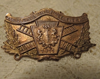 Vintage 1911 Fireman's Convention Badge - Whitehead And Hoag - Pennsylvania Convention