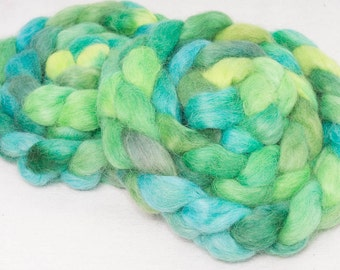 English Teeswater, hand painted top, roving, spin, felt, spinning wool, braid, teal,  103g, Colour; Rivulet
