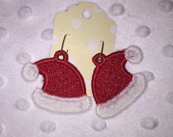 Santa Hat Lace Earrings