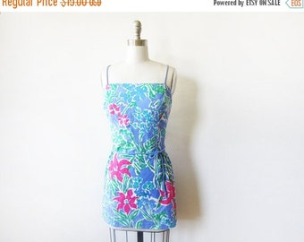 5O% OFF SALE swimsuit cover up, tropical floral dress, vintage beach sundress