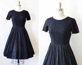 50s black dress, vintage 1950s black eyelet dress, early 60s black lace dress, extra small xs