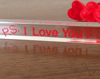 Vintage Lucite P.S. I Love You Home, Office, Desk Decoration Valentine's Day  Every Day 60's 70's