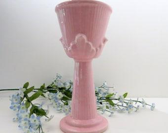 Light Pink Column Vase, Vintage Imperial F27 USA Pottery Ceramic, Centerpiece Supplies, Floral Arrangement Container