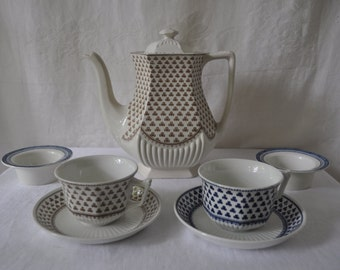 Clover Shamrock English Ironstone Tea Set/Vintage 1980s/Adams Micratex/Tea or Coffee Pot, Two Tea Cups And Saucers/Creamy White Blue Brown