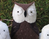 Great Horned Owl Beastly Fellows Mini Plush. Embroidered Woodland Creature Hand Sewn Felt Door Hanging Ornament Red & White Twine Plush Bird