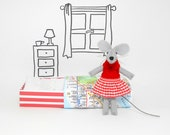 Tiny miniature stuffed mouse  felt animal mouse red nursery decor girl pre teen gift kawaii plushies red birthday gift