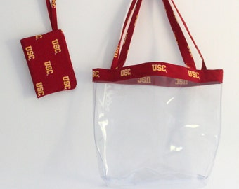 Custom Clear NFL Stadium Tote Bag and Zip Pouch - College Bag