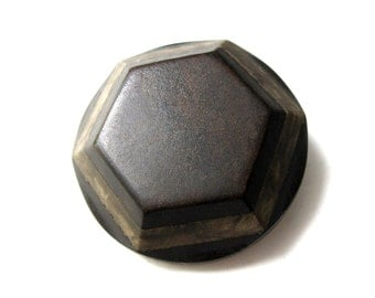 Hexagon Extra large button - 1 brown vintage button 41mm