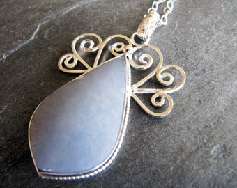 Filigree Necklace with Angelite and Sterling Silver