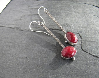 Asymmetric Ruby and Sterling Silver Earrings