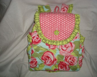 Child's Backpack in Amy Butler Tumble Roses Pink with Amy Butler Sun Spots Olive & Michael Miller Sun Tiles in Lipstick accents