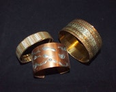 Assorted Women's Bangles Bracelets Cuff} Textured Copper Cuff }Mixed Metal Bangle}Italian Mixed Metal Bracelet