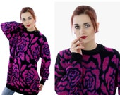 80s Metallic Sweater 90s Hot Pink Purple Rose Pattern Acrylic Oversized Pullover 1980s Retro Large L XLarge XL