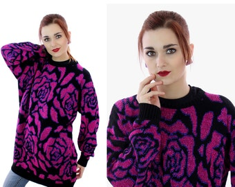 80s Metallic Sweater 90s Hot Pink Purple Rose Pattern Acrylic Oversized Pullover 1980s Retro Large L XLarge XL