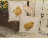 Primitive Spring CHICKS Easter Pillows Cupboard Tucks Ornies SET of TWO
