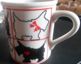 1 DAY SALE Scottish Terrier Scotty Dog Coffee Mug, Ribbons,Hearts