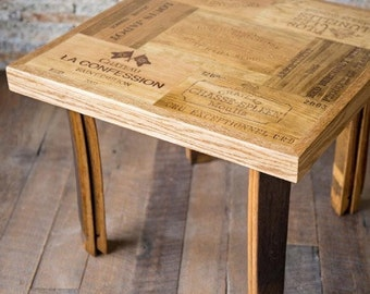 Wine Lover End Table with Barrel Stave Legs