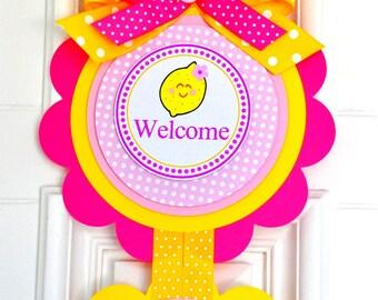 Pink Lemonade Door Sign, XL Vertical Door Hanger, Welcome Door Sign, Pink Lemonade Birthday