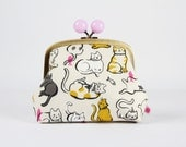 Metal frame clutch bag - Schmitties in mustard - Color bobble purse / Japanese fabric / Cotton and Steel / Cat lady Wattsalot / cute cats