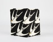 Fabric card holder - Flock in black and white / Lovely swallows / Metallic gold / Cotton and Steel