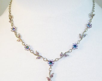 Vintage Purple Floral Silver Tone Necklace