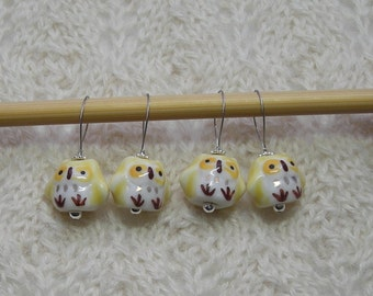 Owl Knitting Stitch Markers - snag free - ceramic owl beads - sunny yellow - large loops fit needles up to size US 13 (9mm)