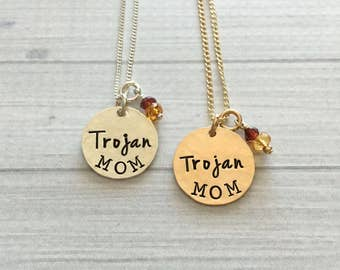 Trojan Mom Necklace - Trojan Necklace - Trojan Jewelry - Trojan Mom Jewelry - Fight On