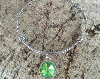 Peridot Birthstone Bracelet, August Birthstone Jewelry, Birthstone Bangle Bracelet, Peridot Jewelry, Mother's Day Gift