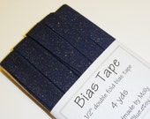 """Navy Blue with Gold Glitter 1/2"""" Double Fold Bias Tape - 4 yds"""
