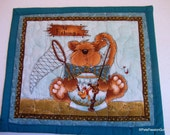 Cat Mug Rug Quilted, Quilted Cat Mug Rug, Cat Quilted Mini Placemat, Mug Rug Quilted Turquoise Green, Cat Lovers Gift