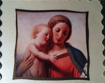 Madonna Wall Plaque Ave Maria Soldered Glass Ornament