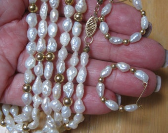 """Vintage 60"""" keshi freshwater pearl necklace, pearl necklace 14kt clasp hoop earrings, iridescent keshi baroque pearl strand matching hoops"""