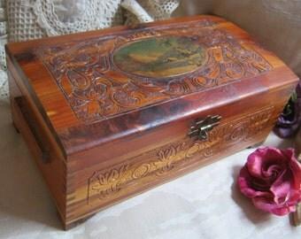 Vintage carved wood decoupage box, jewelry organizer wooden box, cedar wood carved box, snow scene decoupage storage box, handcrafted box