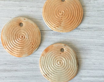 1 Ceramic Pottery porcelain small spiral  wind chime or charm