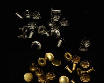 10 Hit-To-Fit Jiffy Rivets in Brass, Antique Brass or Nickel-Plated Silver color, 10 sets for leather work, DIY Steampunk, purse making