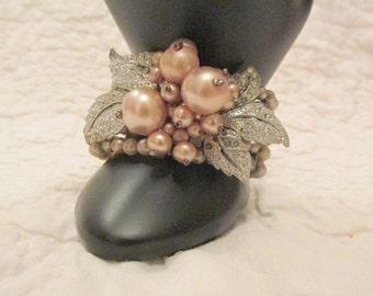 Vintage Faux Pearl and Rhinestone Cuff Bracelet Beautiful SALE