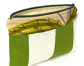 Green stripe with floral print cosmetic bag with decorative stitching, make-up bag, gadget bag One of a Kind