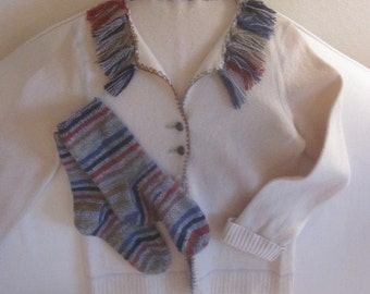 Felted Wool Cardigan with Matching Handknit Socks