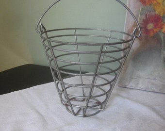 Vintage Metalware Egg Carrying Collecting Basket