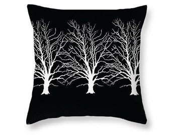 White Trees Pillow, Woodland Art, Home Decor, Decorative Pillow, Black and White, Modern Decor, Home Decor, Forest Grove Woods,Couch Cushion