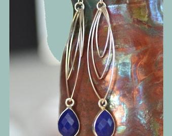 Lapis Lazuli Silver Earrings. BLUE GALAXY Gemstone Earrings. Lapis Lazili Teardrops Sterling Silver Earrings.  Fine Jewelry.