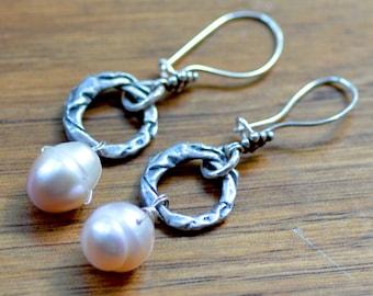 Large Pearl Earrings. FULL MOON Cultured Pearls Sterling Silver Gemstone Earrings. Fresh Water Pearls Wedding Jewelry. June Birthstone.
