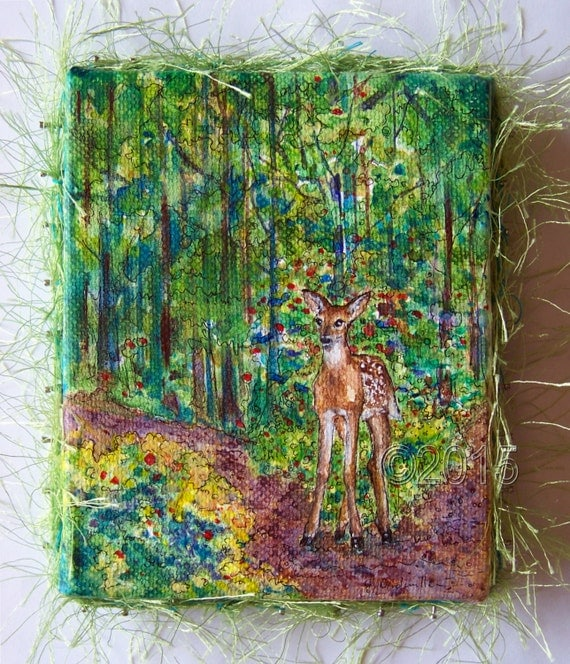 Sale! Little Deer in the Forest Original Painting