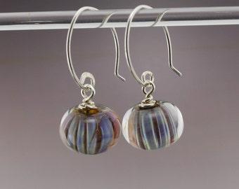 Artisan Handmade Purple Pink Luster Ripple Lampwork Beads - Sterling Silver Lampwork Earrings - Heather Behrendt BHV SRA LETeam