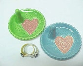 Jewelry Dish, Ring Holder, Pink Heart, Ocean Blue or Spring Green Glaze, Jewelry Storage