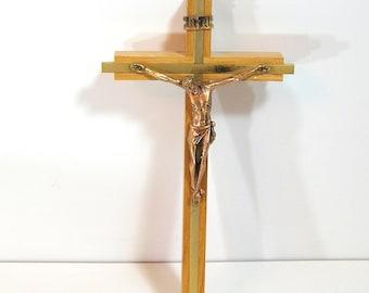 Vintage Oak And Brass Crucifix, Cross