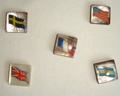 Vintage Square Pearl Buttons with Flags - Swedish, American, French, English and Argentian Flag