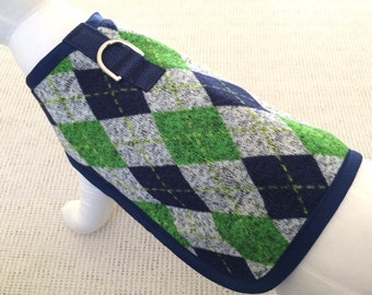 Navy And Green Argyle Dog Harness Coat
