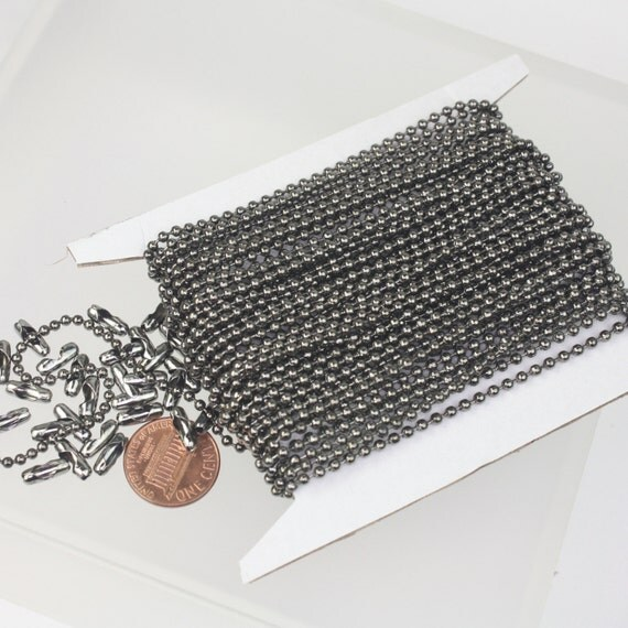 Gunmetal Chain Ball Bulk Chain, 100 ft. of ROUND BALL chain Necklace Wholesale Chain - 2.4mm ball size - w/ FREE 100 pcs Connectors (Insert)