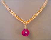 NEW Bordeaux -- Red Topaz Briolette and Pearl Cluster Gemstone Focal Necklace